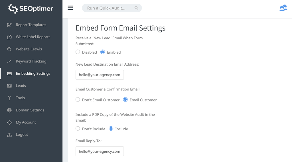 Form email notifications