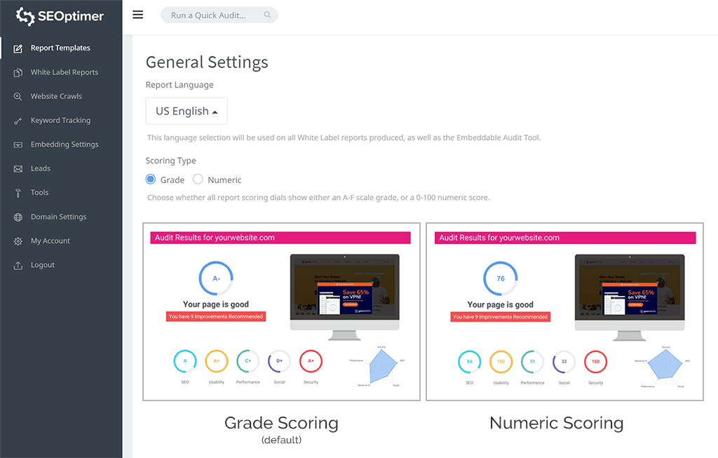Grade report settings