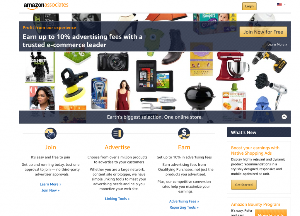 homepage of Amazon associates