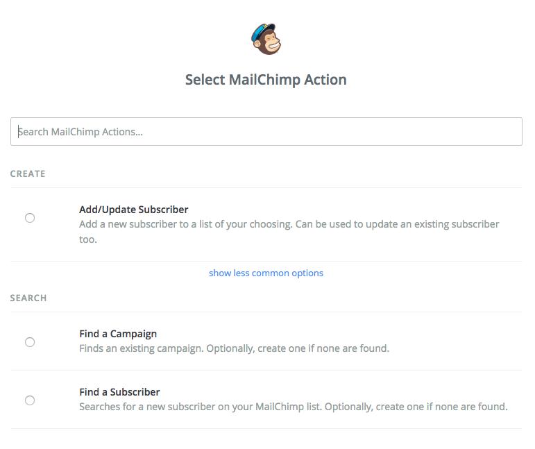 select mailchimp action
