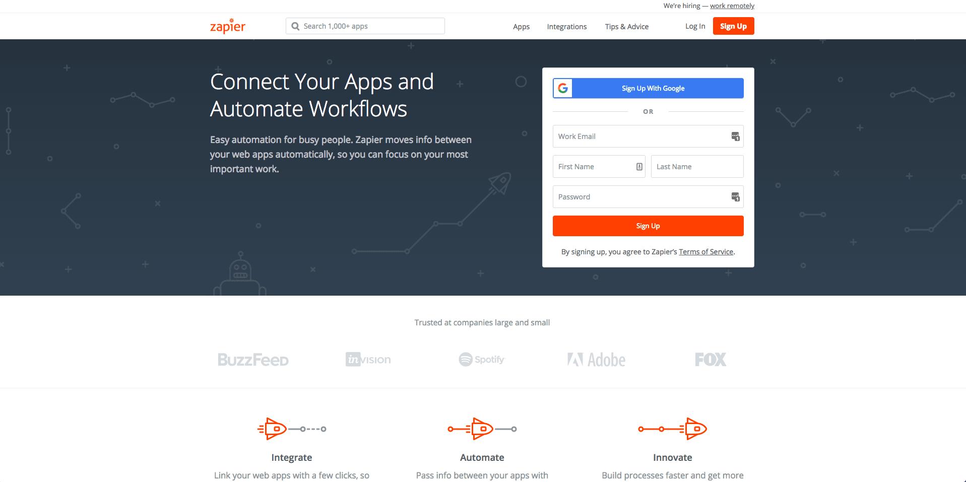 screenshot of Zapier's homepage