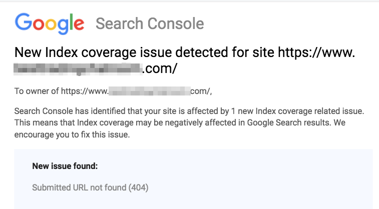 broken links message from google search console