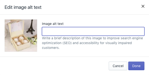 how to add alt text on images in shopify site