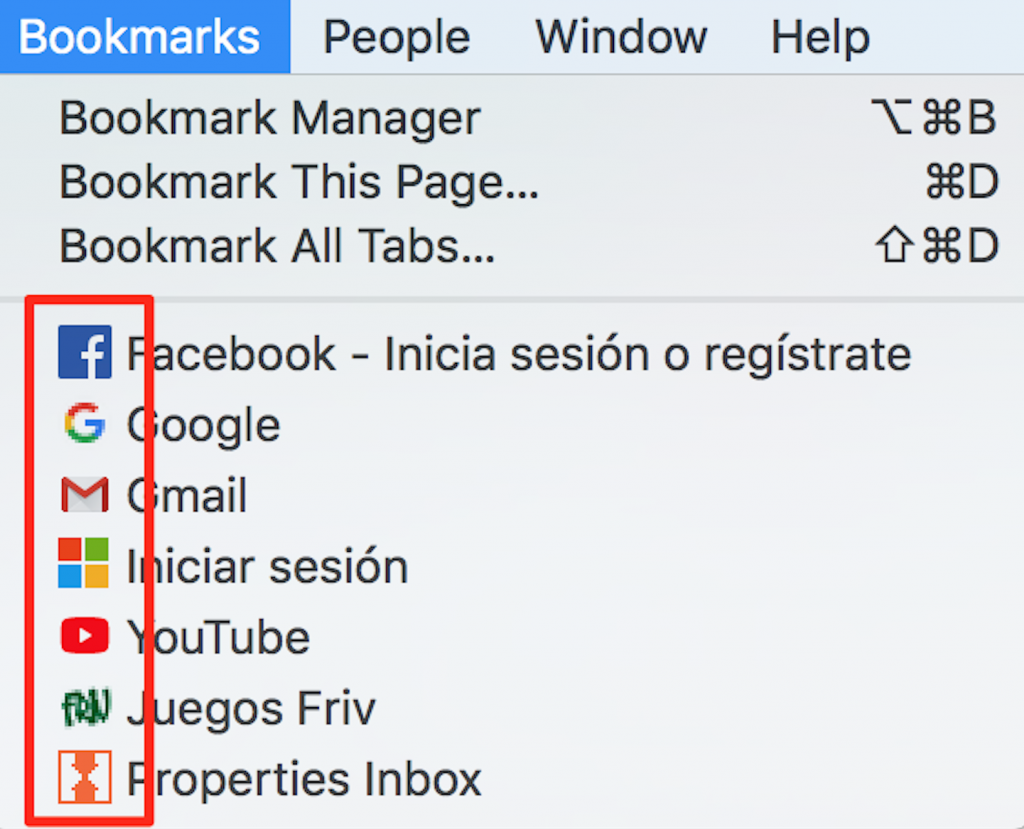 Favicon in bookmark dropdown menu