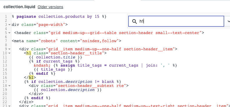 shopify edit code language theme editor to change heading tags on page
