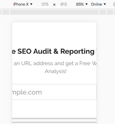 iphonex chrome browser inspect element bad example of viewport not added correctly