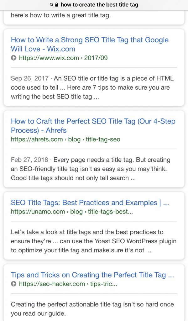 mobile search results on title tag example character