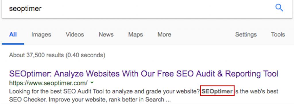 meta description image google search result