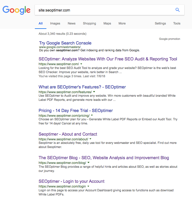 check on serp for title tag