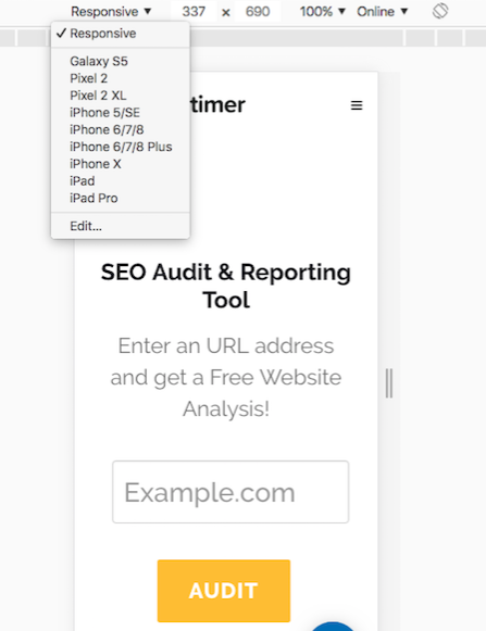 where to view mobile on chrome browser for viewport