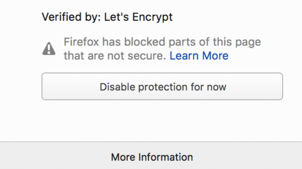 Firefox mixed content warning message to users