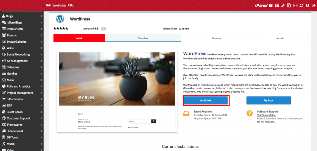 how to install wordpress to domain