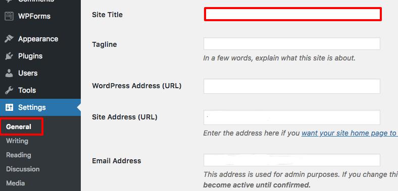 how to create a site title wordpress