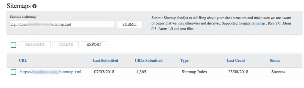 submit sitemap bing webmaster tools