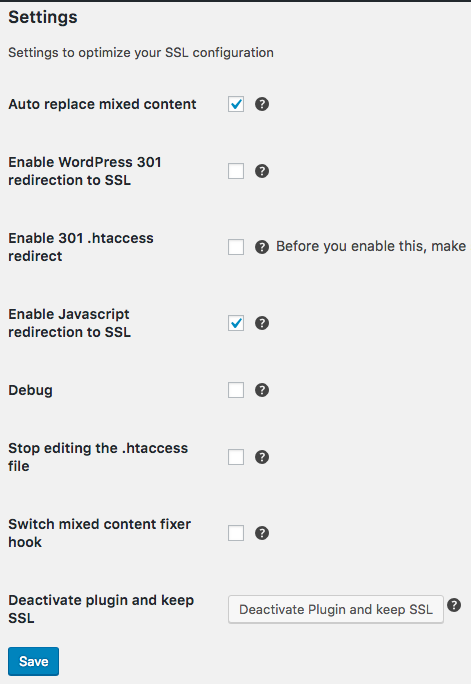 Really Simple SSL Settings
