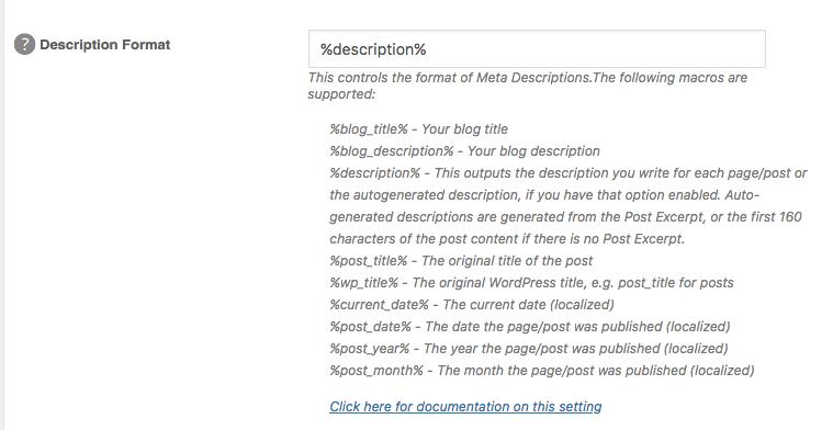 remove the description macros all in one seo