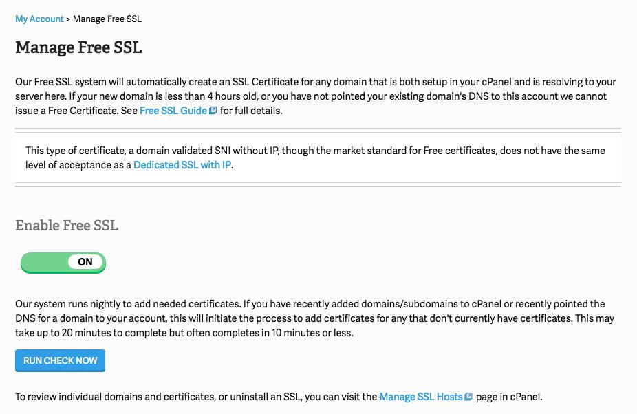 Enable Free SSL wordpress