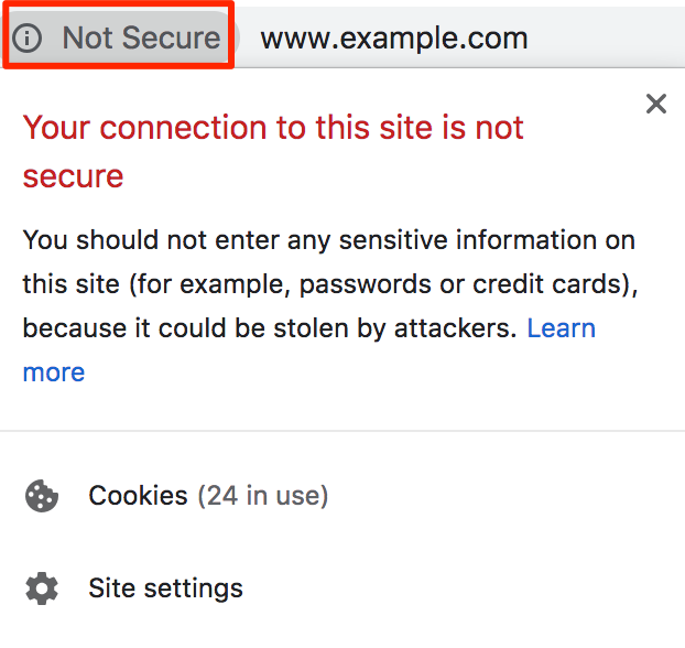 your connection to this site is not secure mixed content warning message