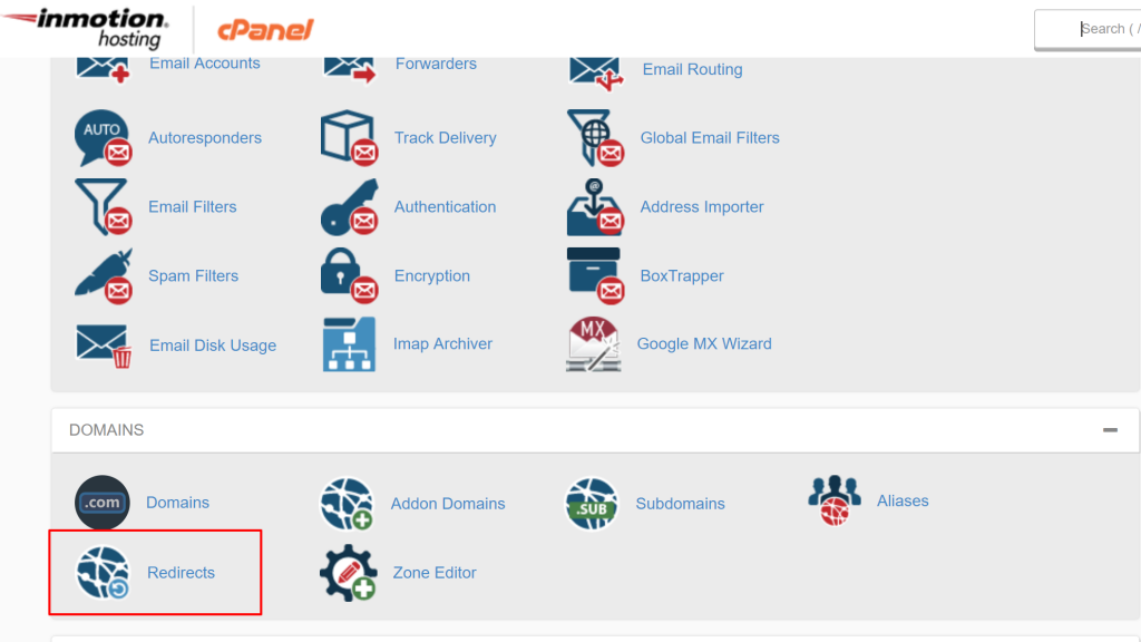 cpanel to file manager using the rediect option for wildard redirect