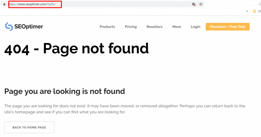 404 page not found error message