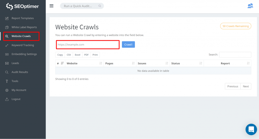 "enter your website url and hit ""crawl"" seoptimer tool"