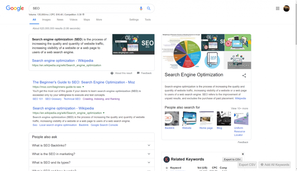 """screenshot of search results for the keyword """"SEO"""""""