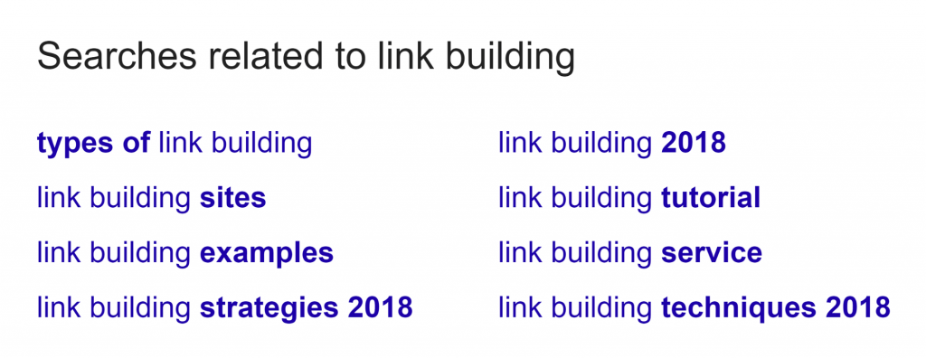screenshot of Google related searches for the keyword link building