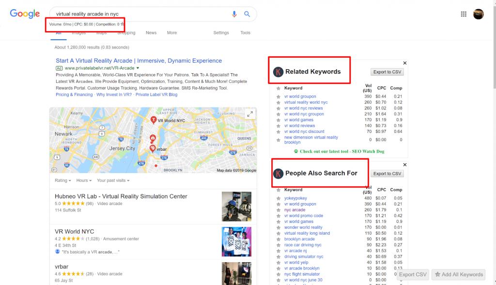 keywords everywhere related searches keyword tool