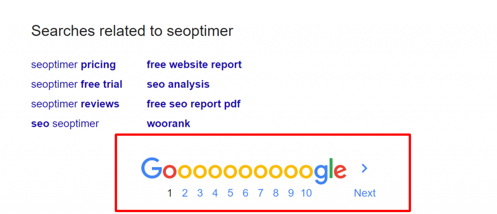 example of using pagination in search engine results.