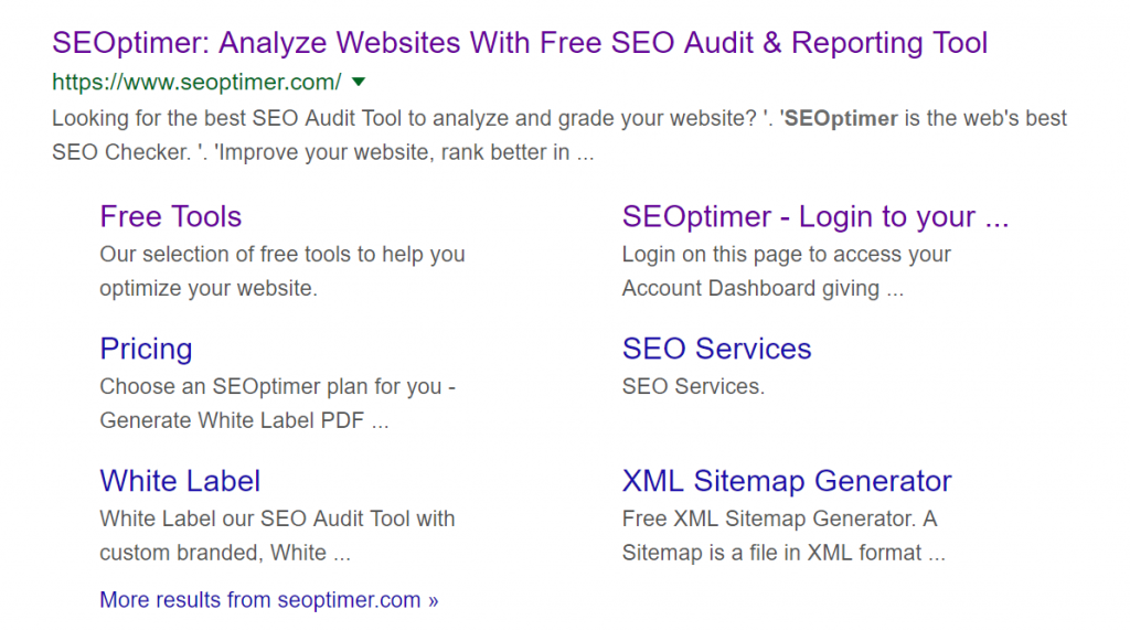 sitelinks on serp