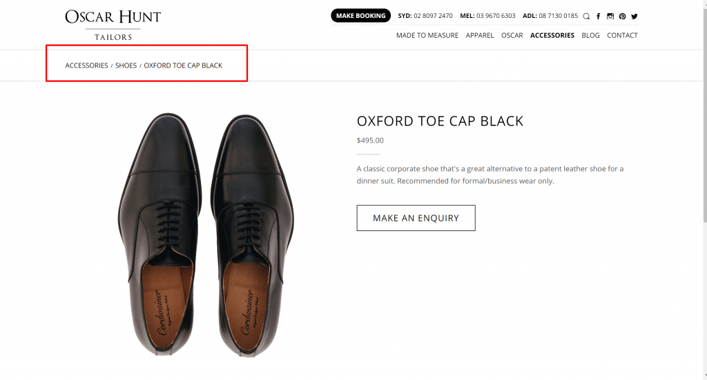 Oxford toe cap Black Oscar Hunt Tailors (1)