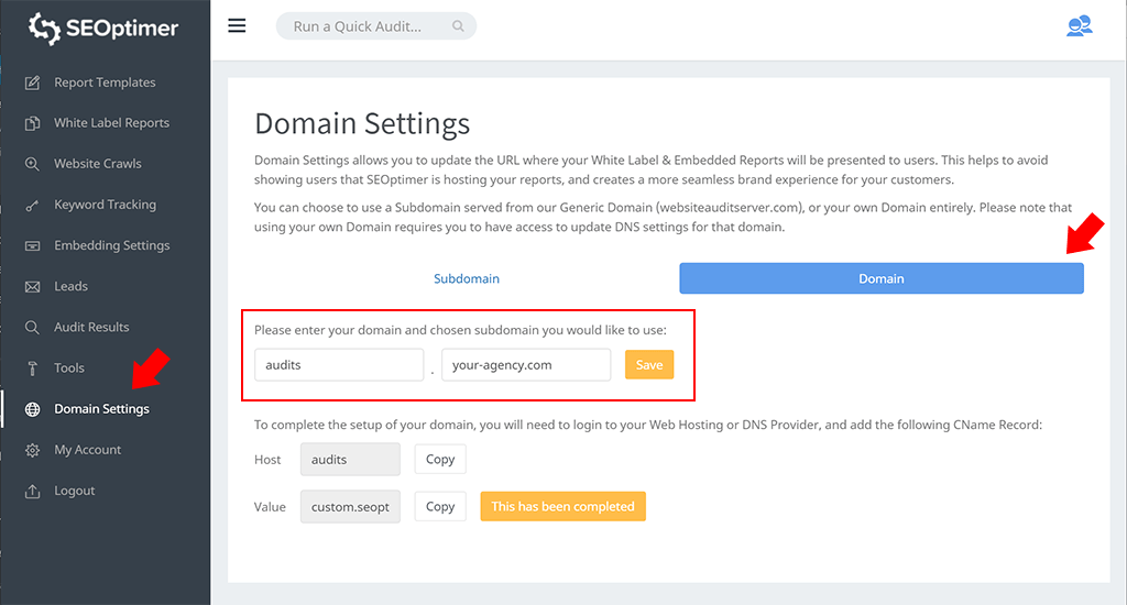 White label domain settings