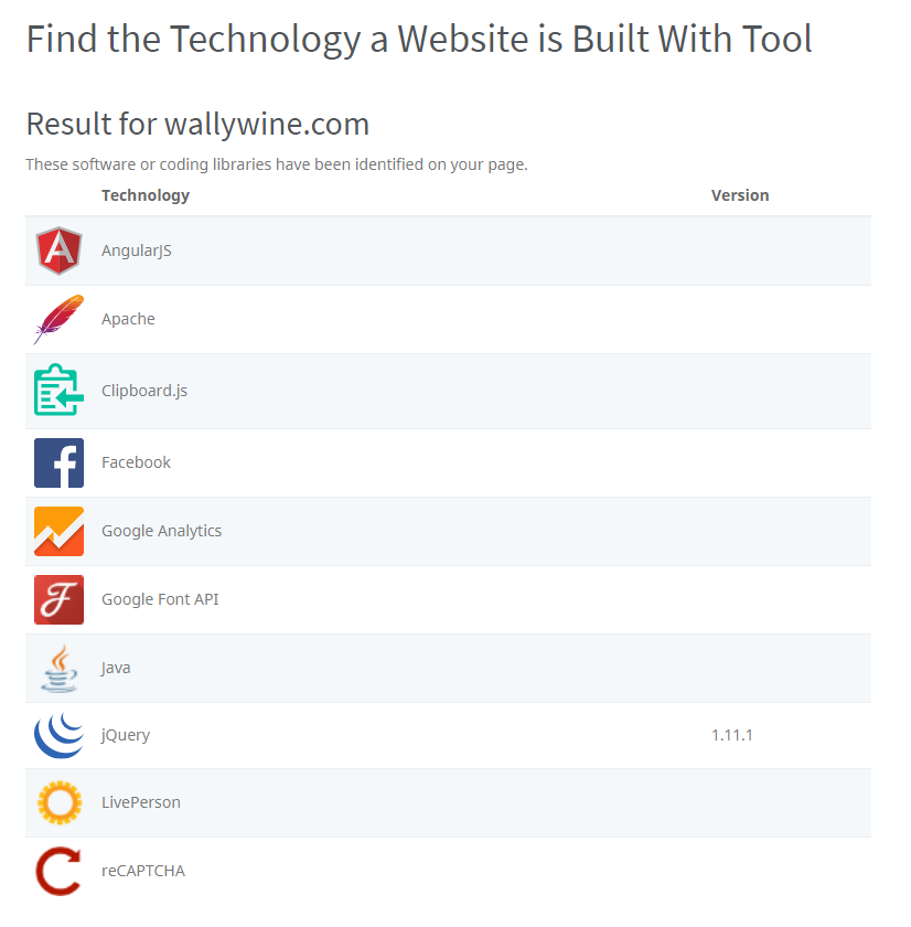 Find the Technology a Website is Built With Tool