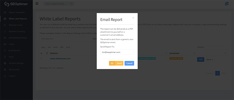 Email audit report