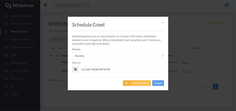 Scheduled crawl