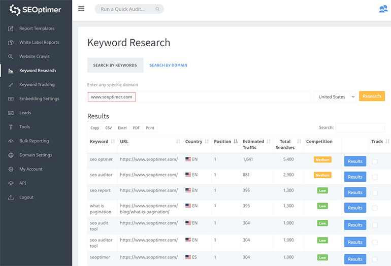 Keyword Tracking by Domain