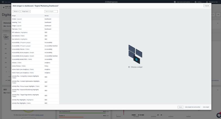 Siteimprove widgets
