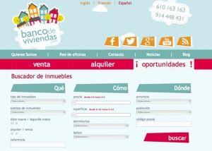 Página inicio web Banco de Viviendas