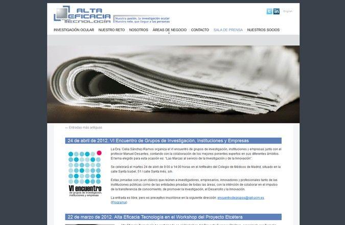 Página interior web alta eficacia