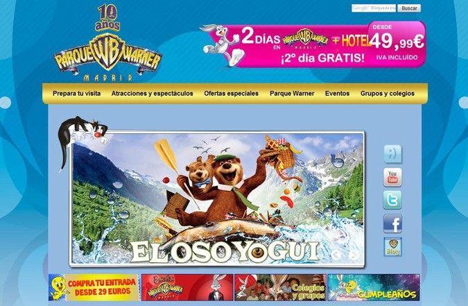 Página inicio web Parque Warner
