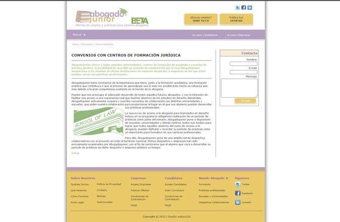 Página interior portal de empleo Abogado Junior