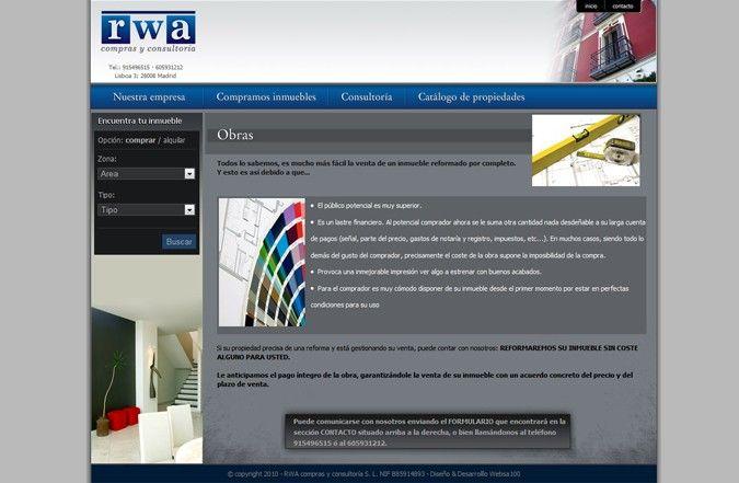 Página interior web Compras y consultoría RWA