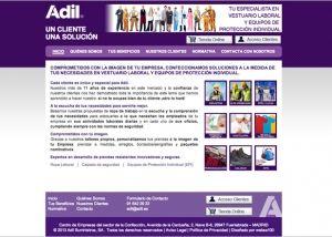 Página interior web corporativa Adil