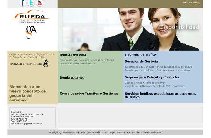 Página interior web Gestoría Rueda