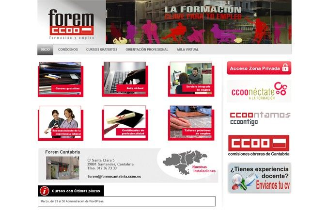 Página inicio web Forem Cantabria