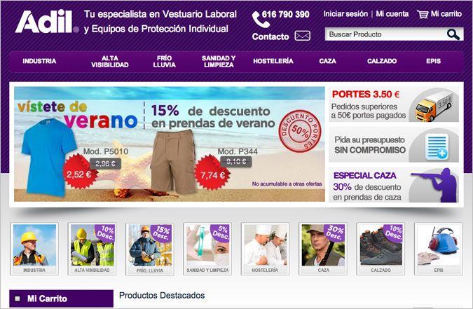 Página interior tienda online Adil