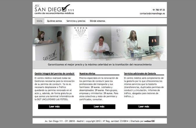 Página inicio web Centro médico San Diego