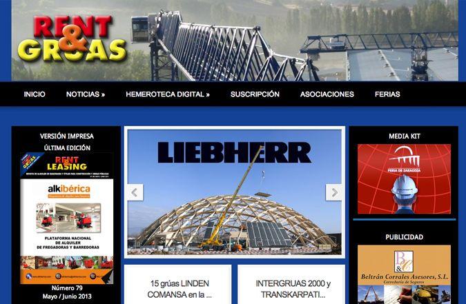 Página inicio web Rent&Gruas