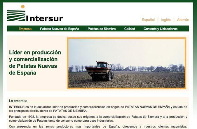 Página inicio web Intersur