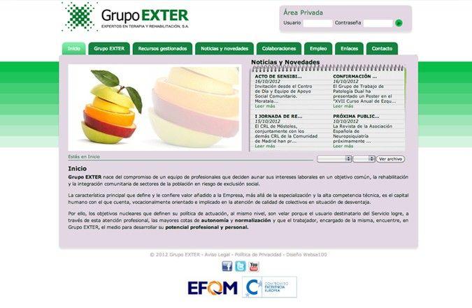 Página interior web grupo exter